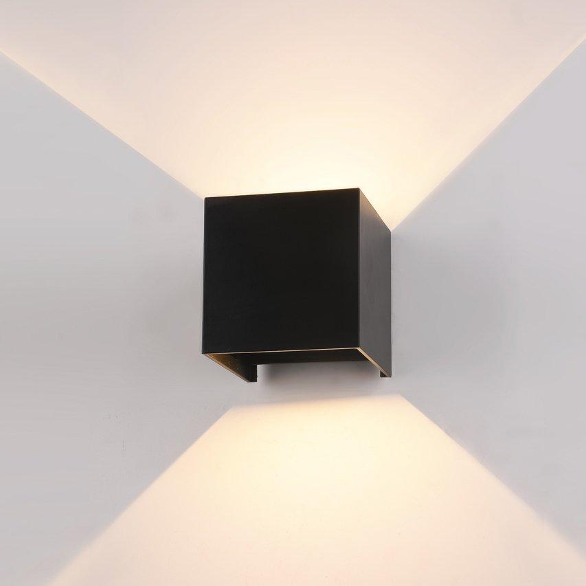 Lampa Elewacyjna Kinkiet Zewnętrzny Led Sorento Góra Dół 6w 3000k Ip54 Kwadrat Czarny Pl 208b Italux