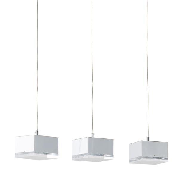 Lampa sufitowa LED wisząca Seth 3 źródła światła biała metal akryl nowoczesna kwadrat kostka Italux MD14009016 3A