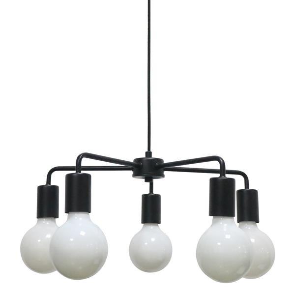 Lampa sufitowa wisząca żyrandol Irina pająk czarna metalowa prosta Italux MD BR1721401 D5 B