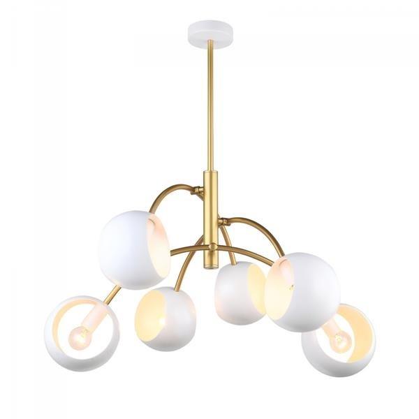 Lampa sufitowa żyrandol 6 źródeł ekstrawagancki nowoczesny kosmos kule biały złoty Italux Melvo MDM 36916 GD+W