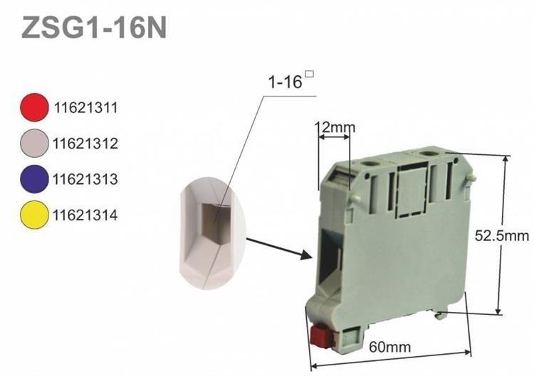 Złączka szynowa gwintowa, seria NOWA, 16,0 mm2, TS 35, 1 tor SIMET